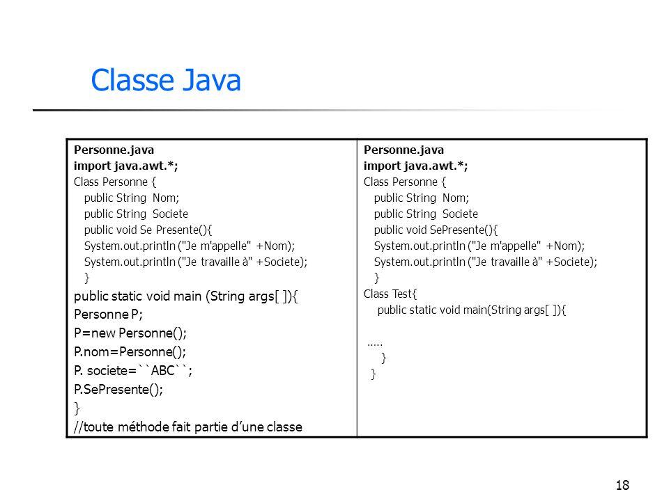 Classe Java public static void main (String args[ ]){ Personne P;